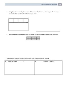 NYS Math - Grade 2 - Module 6 End of Module Review Sheet (with Answer Key)
