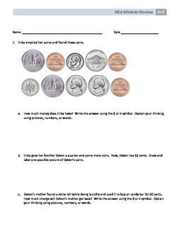 NYS Math - Grade 2 Module 7 Mid-Module Review Sheet (with Answer Key)