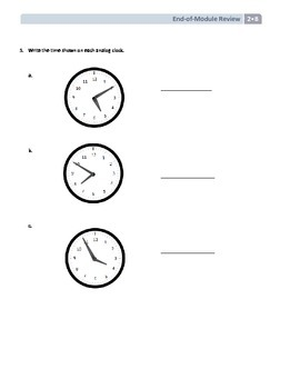 NYS Math - Grade 2 Module 8 End of Module Review Sheet (with Answer Key)
