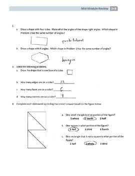 NYS Math - Grade 2 Module 8 Mid-Module Review Sheet (with Answer Key)