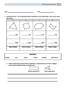 NYS Math - Grade 2 Module 8 Mid-Module Review Sheet (with
