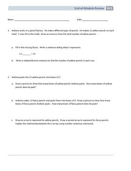 NYS Math - Grade 3 - Module 1 - End of Module Review Sheet (with Answer Key)