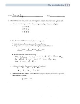 NYS Math - Grade 3 - Module 1 Mid-Module Review Sheet