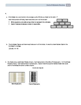 NYS Math - Grade 3 - Module 3 End-of-Module Review with Answer Sheet