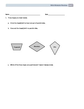 NYS Math - Grade 3 - Module 7 Mid-Module Review Sheet (with Answer Key)