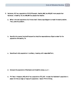 NYS Math - Grade 4 - Module 1 End of Module Review Sheet (with Answer Key)