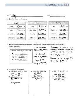 NYS Math - Grade 4 - Module 2 End of Module Review Sheet (with Answer Key)