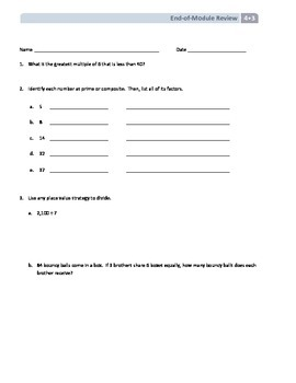 NYS Math - Grade 4 - Module 3 End of Module Review Sheet (with Answer Key)