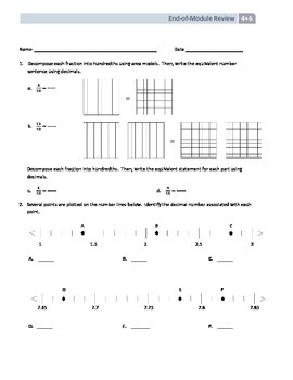 NYS Math - Grade 4 - Module 6 End of Module Review Sheet (with Answer Key)