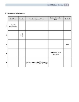 NYS Math - Grade 4 - Module 6 Mid-Module Review Sheet (with Answer Key)