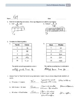 NYS Math - Grade 4 - Module 7 End of Module Review Sheet (with Answer Key)