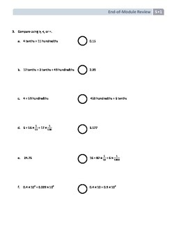 NYS Math - Grade 5 - Module 1 End of Module Review Sheet (with Answer Key)