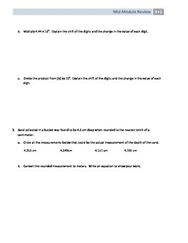 NYS Math - Grade 5 - Module 1 Mid-Module Review Sheet (with Answer Key)