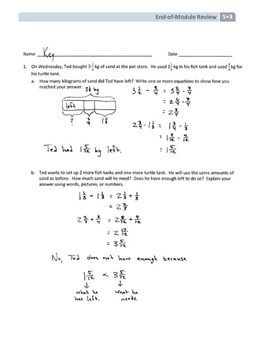 NYS Math - Grade 5 - Module 3 End of Module Review Sheet (with Answer Key)