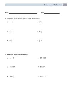 NYS Math - Grade 5 - Module 4 End of Module Review Sheet (with Answer Key)
