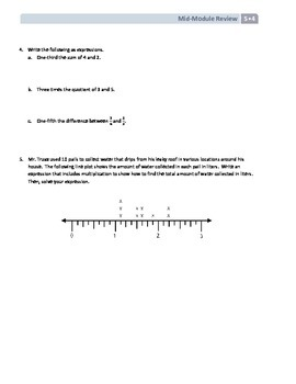 NYS Math - Grade 5 - Module 4 Mid-Module Review Sheet (with Answer Key)
