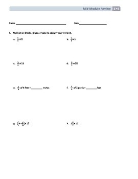 NYS Math - Grade 5 - Module 4 Mid-Module Review Sheet (wit