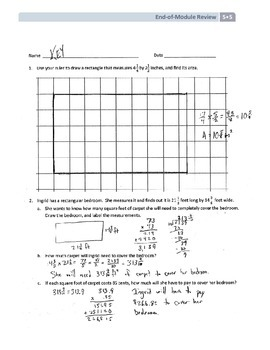 NYS Math - Grade 5 - Module 5 End of Module Review Sheet (with Answer Key)