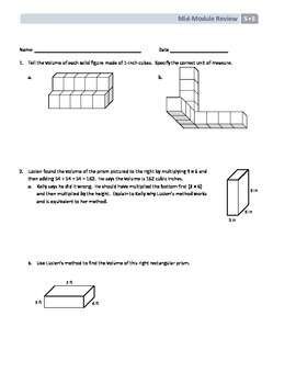 NYS Math - Grade 5 - Module 5 Mid-Module Review Sheet (with Answer Key)