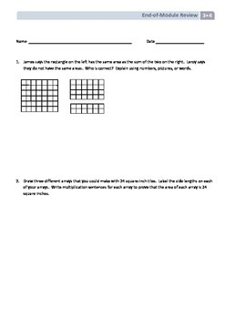NYS Math - Grade 3 - Module 4 - End-of-Module Review with Answer Sheet