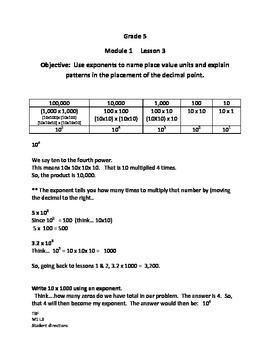 Grade 5 NYS Module 1 Lesson 3 student/ parent directions