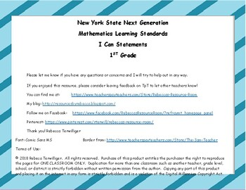 NYS Next Generation Learning Standards - I Can Statements - 1st Grade Math