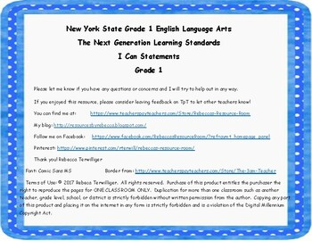NYS Next Generation Learning Standards - I Can Statements - Grade 1 ELA