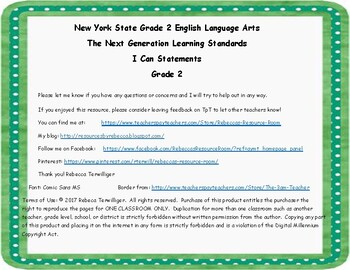 NYS Next Generation Learning Standards-I Can Statements - Grade 2 ELA