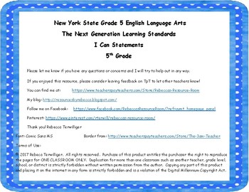 NYS Next Generation Learning Standards - I Can Statements - Grade 5 ELA