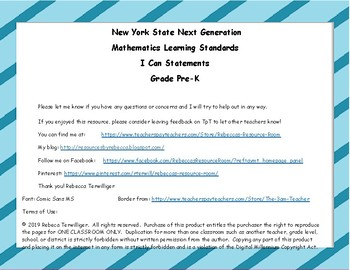 NYS Next Generation Learning Standards - I Can Statements - Grade Pre-K Math