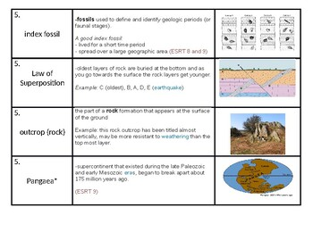 """NYS Regents Earth Science """"Geologic Time"""" Vocabulary Strips"""