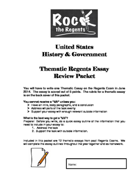 NYS Regents US History & Government Thematic Essay Practice