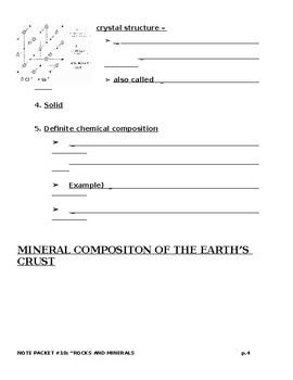 NYS Rocks and Minerals Note Packet
