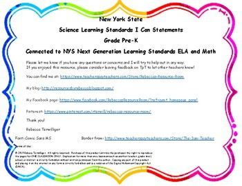 "NYS Science Learning Standards ""I Can Statements"" Pre-K - Connected with NYSNGLS"