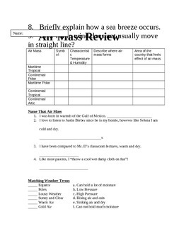NYS State Earth Science Regents Based Weather Unit Sheets