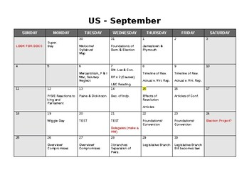 NYS US History Pacing Schedule
