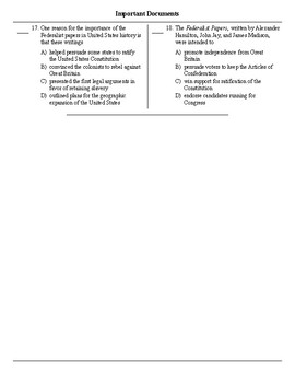 NYS US History Regents Review Important Documents Multiple Choice