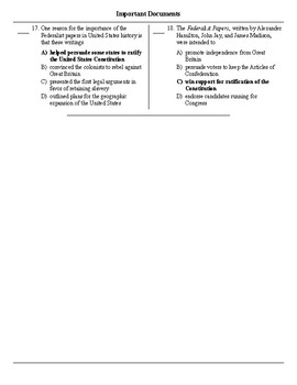 NYS US History Regents Review Important Documents Multiple Choice ANSWERS