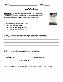 NYS Unit 2: Kids Excel-Swimming Sisters Comprehension Work