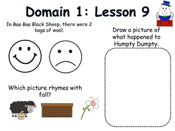 NYS common core curriculum Domain 1: Nursery Rhymes and Fables for Kindergarten.