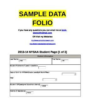 2014-2015 NYSAA SAMPLE DATAFOLIO- Sneak Peak
