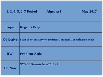 NYSCC Algebra Regents Exam, Aug. 2016