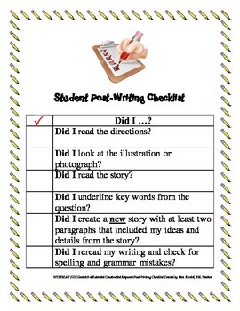 NYSESLAT 2015 Grades 3-4 Extended Constructed Response Writing Checklists