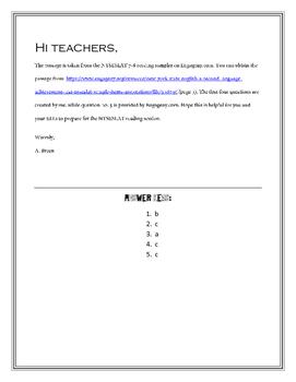 NYSESLAT Multiple Choice Practice (7th - 8th Grade ELLs)
