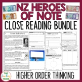 NZ Heroes of Note - Four Reading Comprehension Texts with