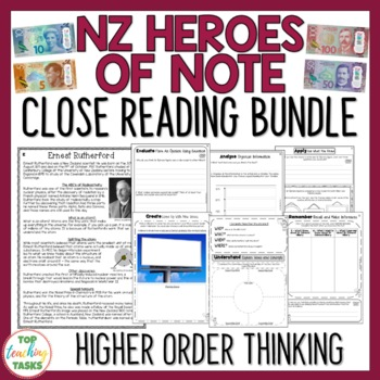 NZ Heroes of Note - Four Close Reading Comprehension Passages and Questions