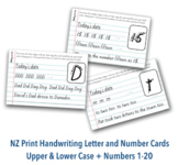 NZ Print Handwriting Letter & Number Cards