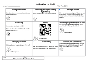 NZ School Journal May 2015 - Just One Wheel by Kelly Dix Comprehension tasks