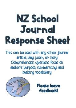 NZ School Journal Response Questions (generic)