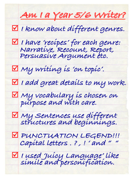 NZC - Year 5/6 Writer's Checklist